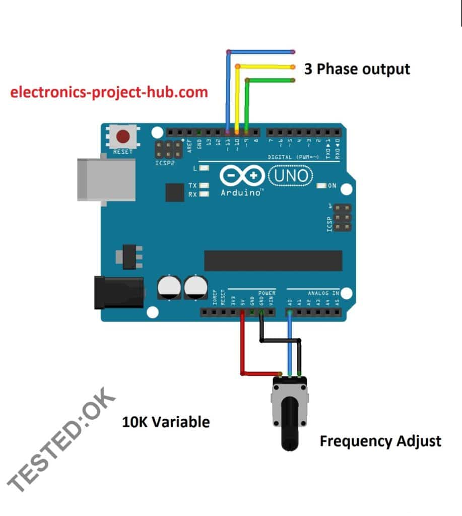 3 Phase Sine Wave Generator Code Arduino Diy Electronics Circuit Wiring Diagram The Is Very Simple It Consists Of An Board And A 10k Potentiometer For Adjusting Frequency Output