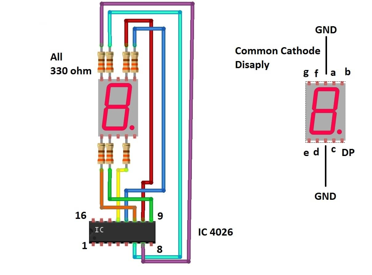 IC4026 to 7 segment Display Connection