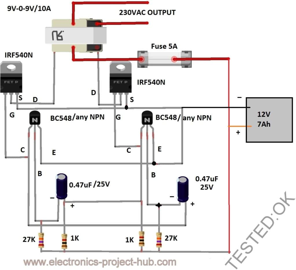 Simple 12v To 230vac Inverter Circuit  U2013 Mosfet  U2013 Diy