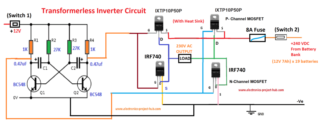 simple transformer-less inverter circuit – 1000 watt