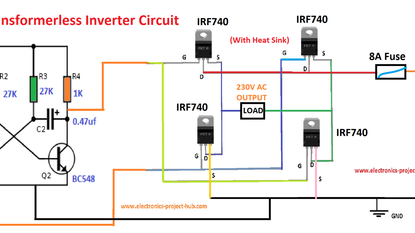 Simple Transformer Less Inverter Circuit 1000 Watt Diy Diagram Of Power On 220v To 12v Dc Ac Electronics Projects