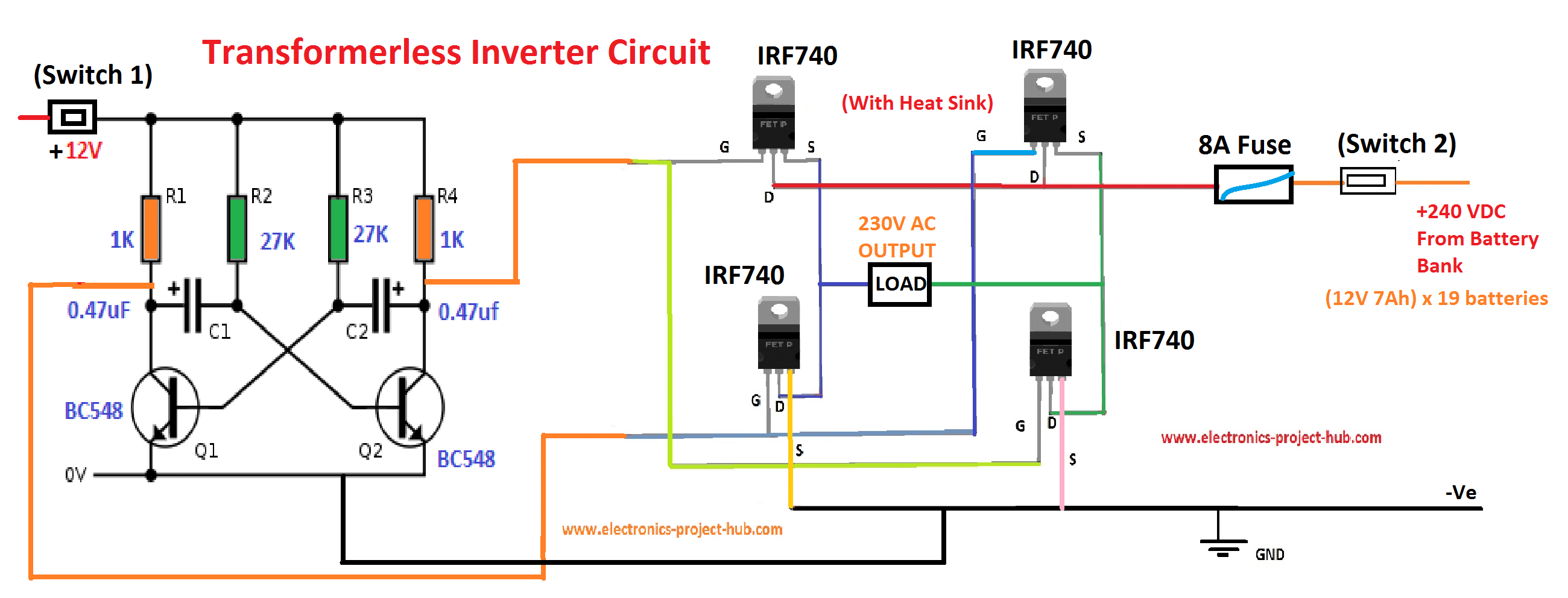 Block Diagram of Transformer-less Inverter Circuit:
