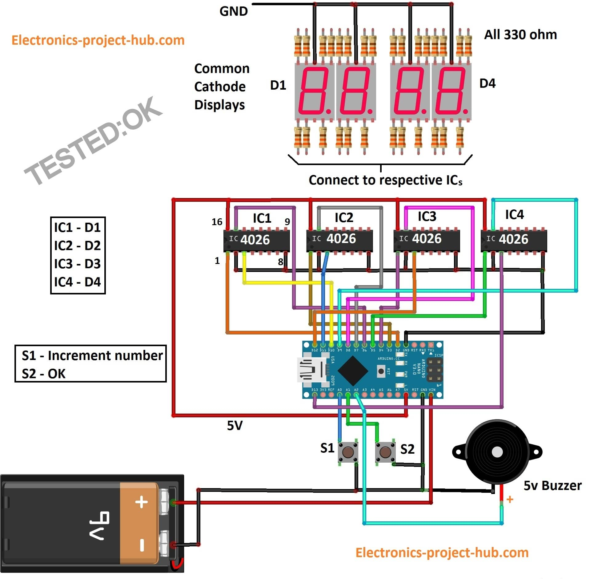 countdown timer circuit diagram with 7 segment display diy rh electronics project hub com 7 segment digital clock circuit diagram