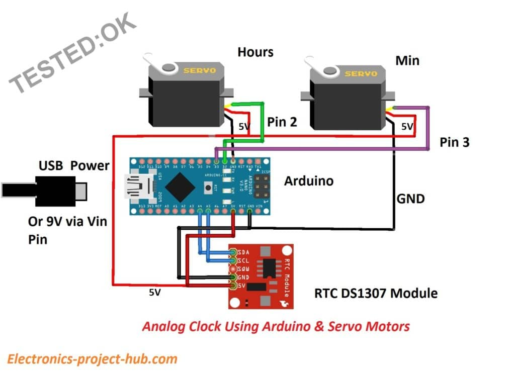 analog clock Using Arduio circuit
