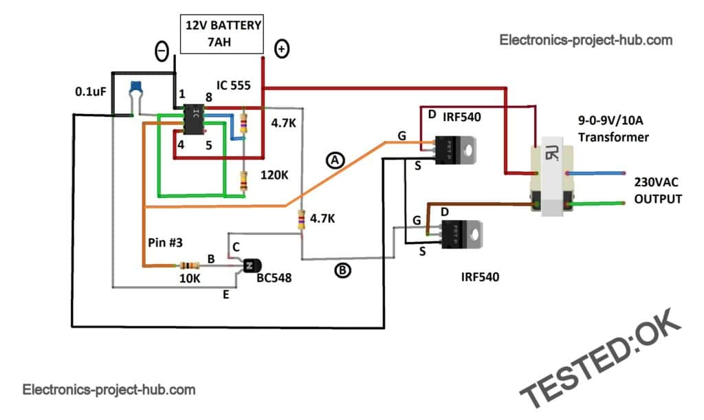 IC 555 Inverter Circuit Diagram – DIY Electronics Projects Ic Ne Pin Diagram on