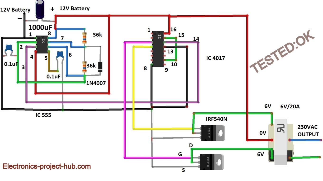 Sukam Inverter Circuit Diagram | Modified Sine Wave Inverter Circuit Diy Electronics Circuit Projects