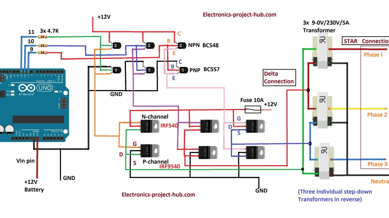 three phase inverter circuit diagram diy electronics. Black Bedroom Furniture Sets. Home Design Ideas