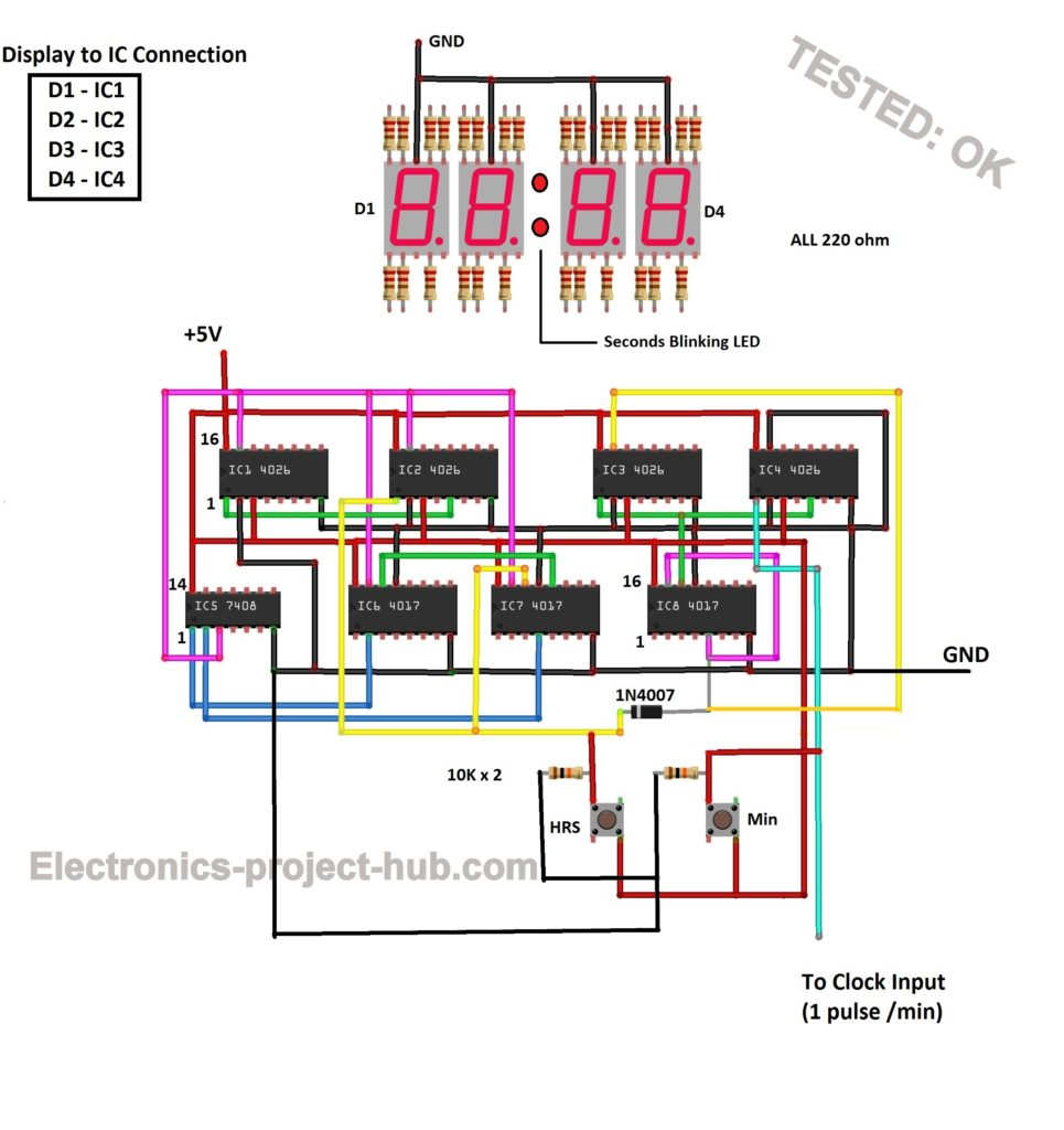 Digital Clock Circuit Using Ic 555 And Ic 4026  U2013 Diy