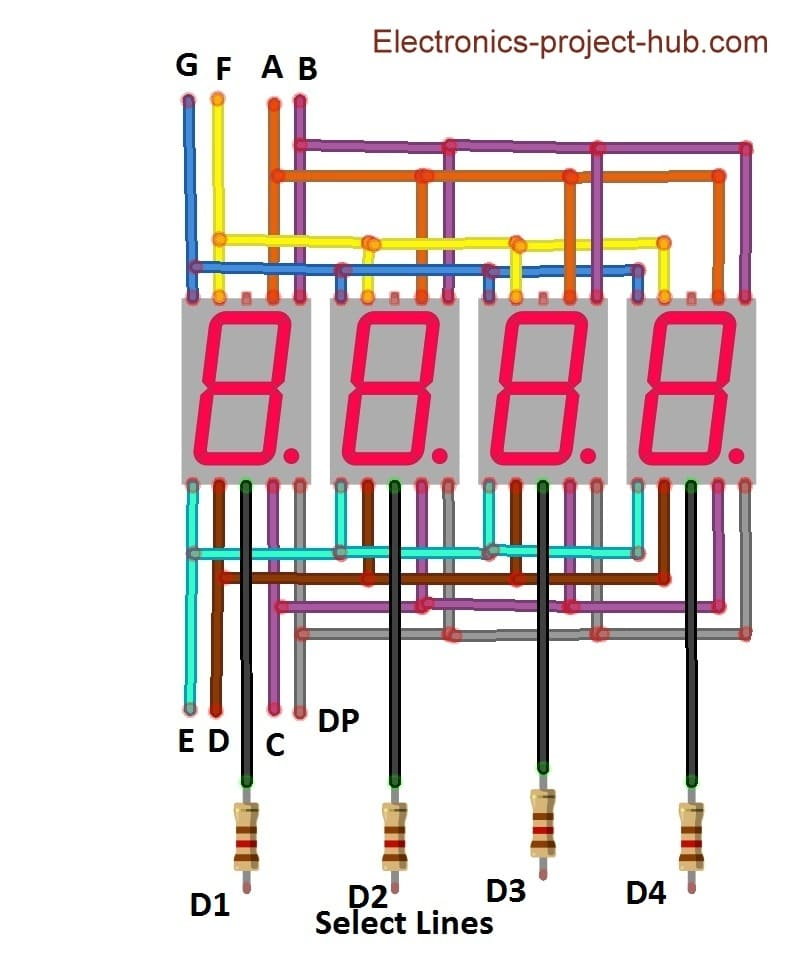 Multiplexed 4 digit display