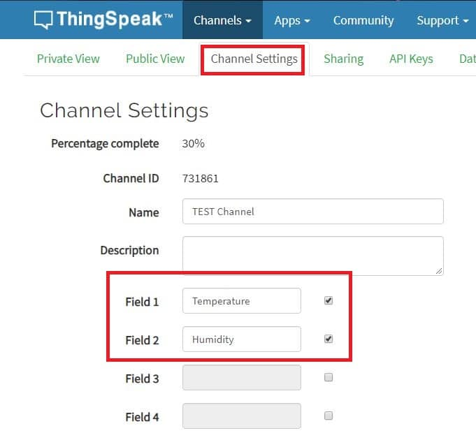 Thingspeak Channel Settings