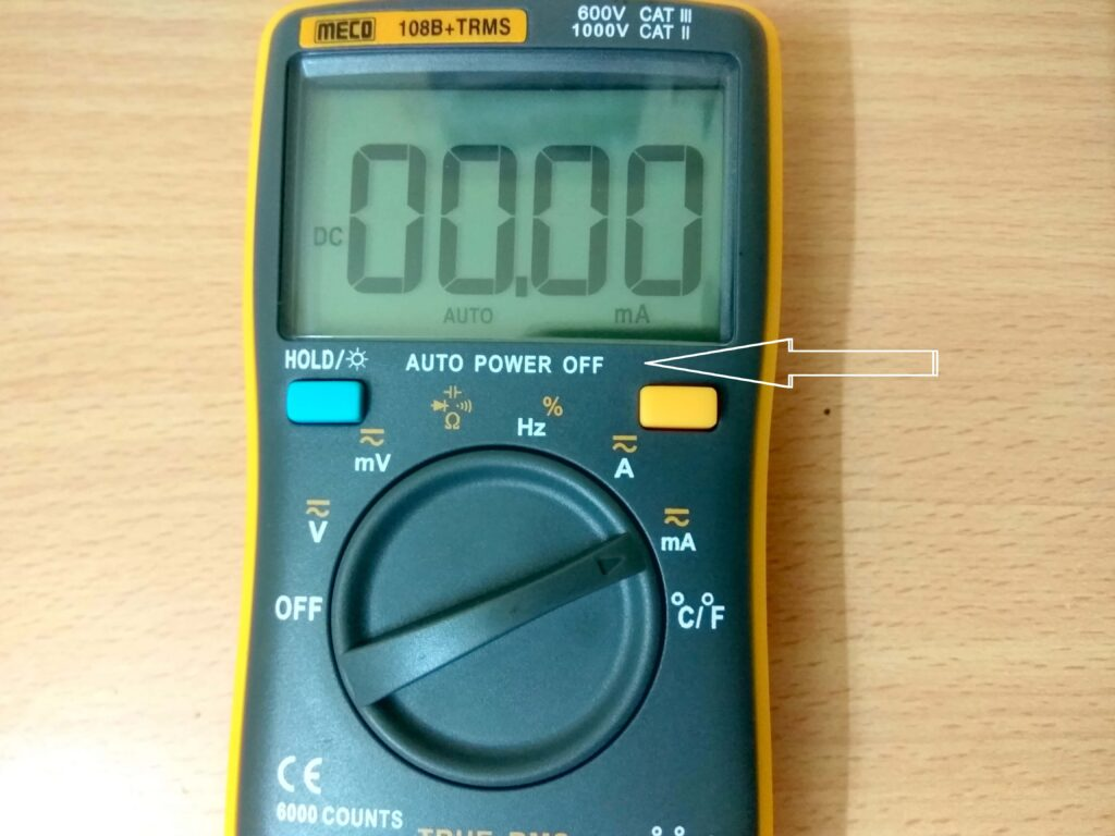 Auto-power off on multimeter