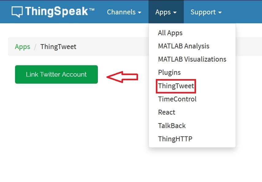Linking Tweeter account with Thingspeak