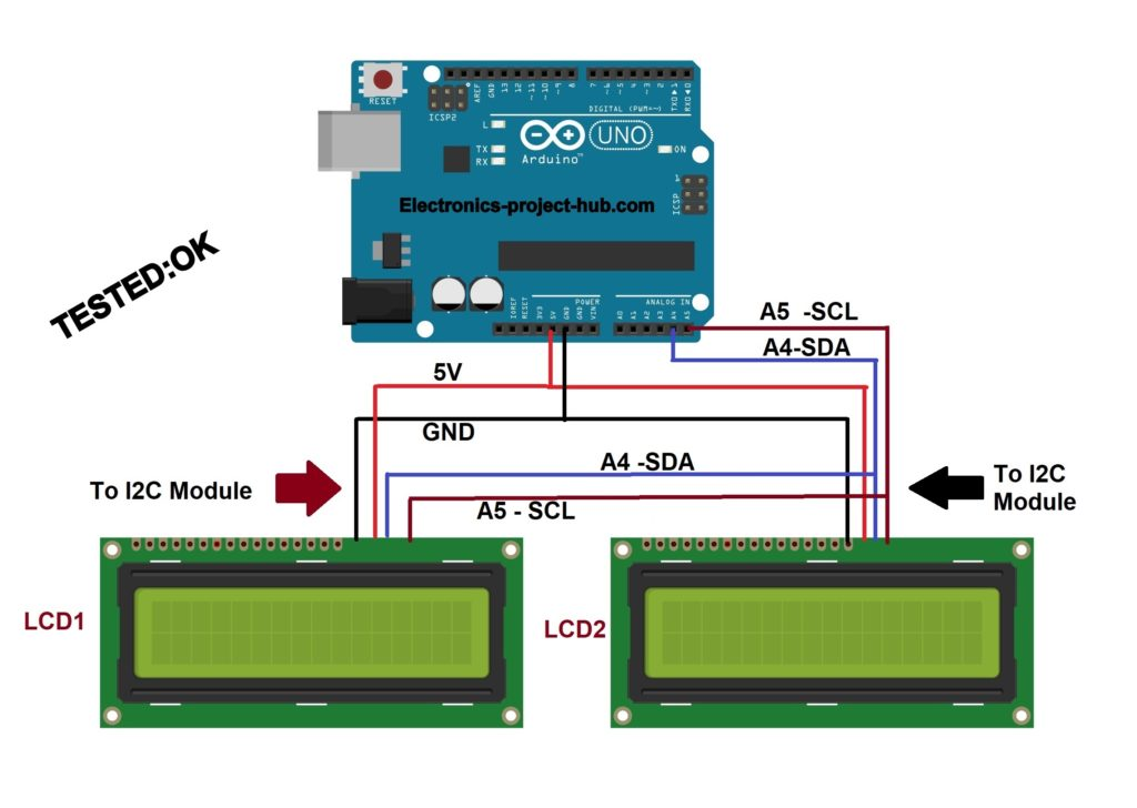 Multiple LCD using I2C adapter