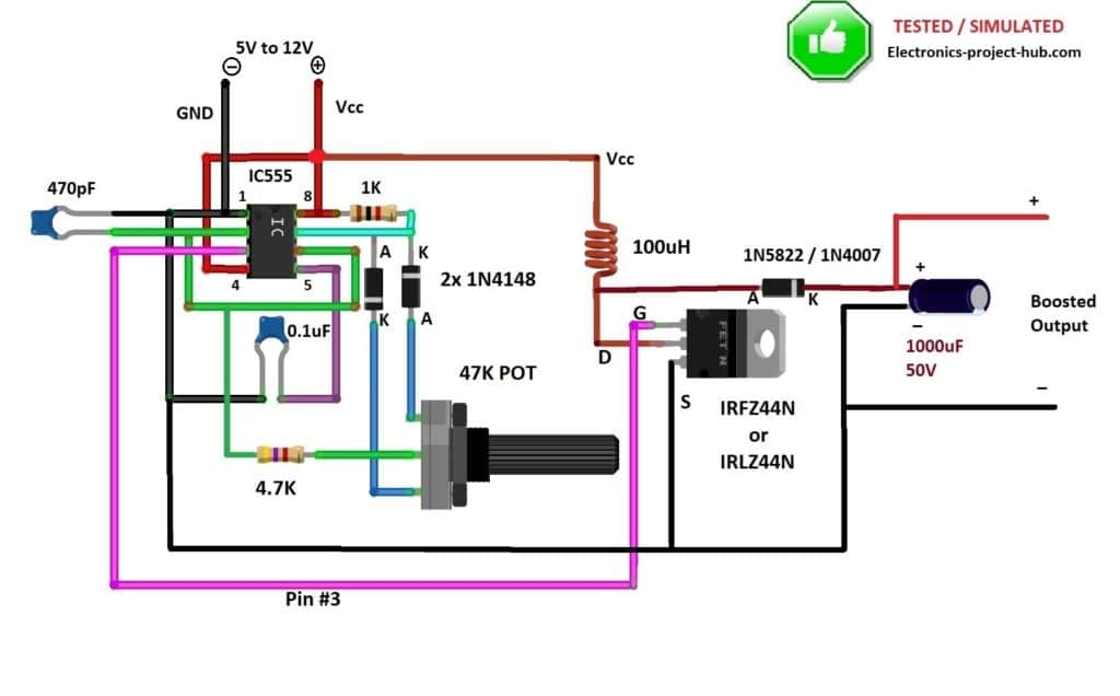 Boost converter using IC 555